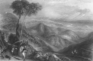 Drawing of the Doon Valley, Dehradun, India from the 1850's.  Public domain artwork.